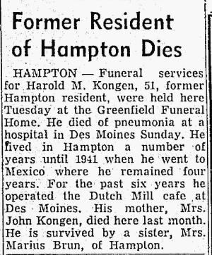Harold's obituary in the Mason City Globe-Gazette on 25 Nov 1953
