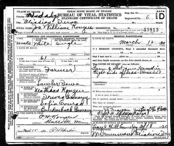 Joe Konzen's death certificate