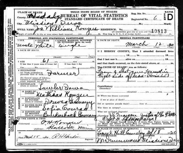 Joe Konzen's death certificate