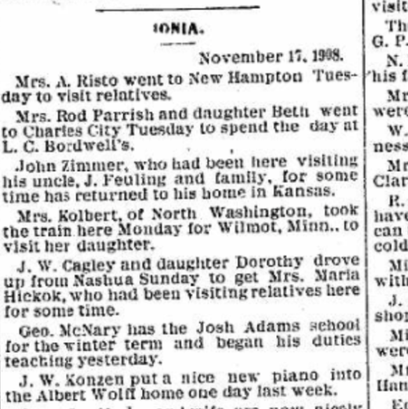 The Nashua Reporter November 19, 1908.